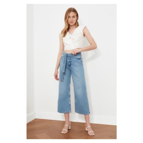 Trendyol Blue Lacing Detail High Waist Culotte Jeans