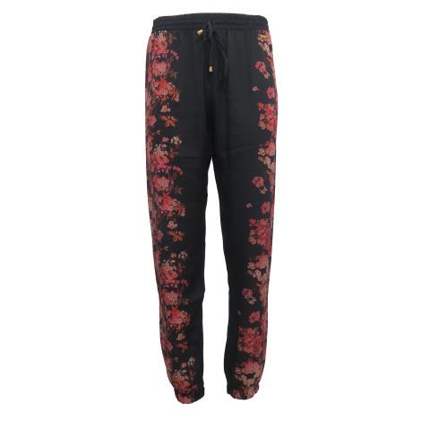Černé kalhoty s červenými květy GUESS