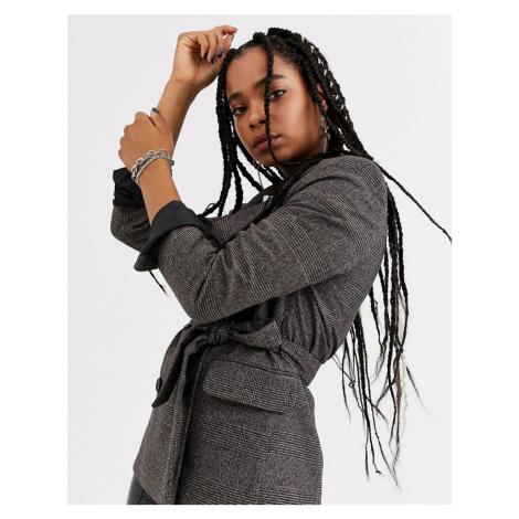 Bershka longline tie waist blazer in brown