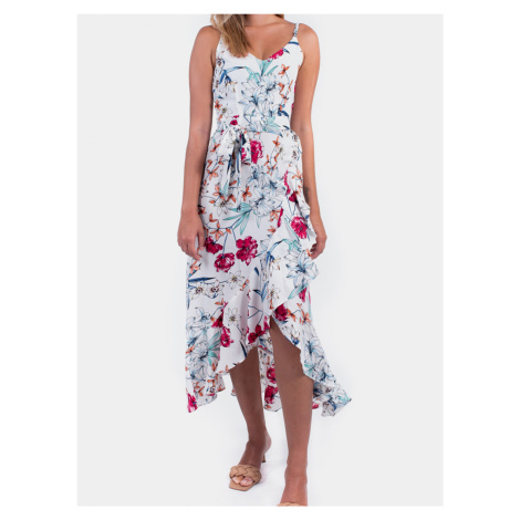Culito from Spain bílé květované šaty Long Blanco Romantico