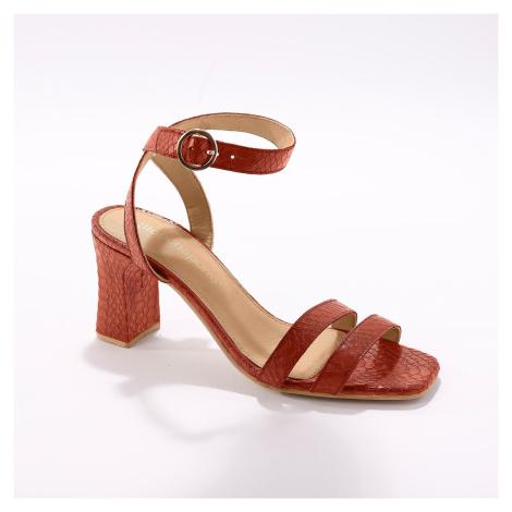 Blancheporte Kožené sandály s dvojitým páskem a potiskem vzorem karamelová