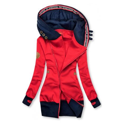 Prodloužená mikina s kapucí červená/modrá Butikovo
