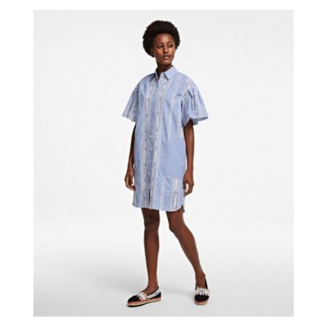 Šaty Karl Lagerfeld Embroidered Stripe Shirt Dress - Různobarevná