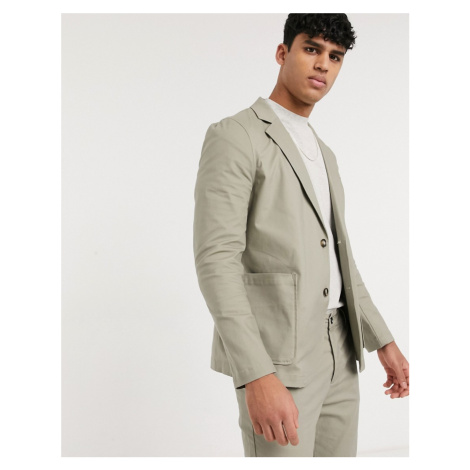 ASOS DESIGN co-ord skinny casual cotton blazer with square pockets in khaki-Green