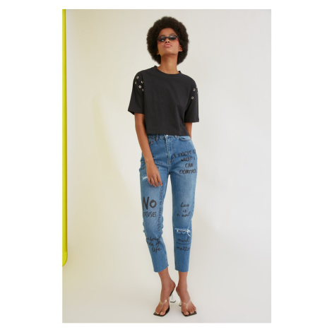 Trendyol High Waist Mom Jeans WITH Blue Ripped Detailing