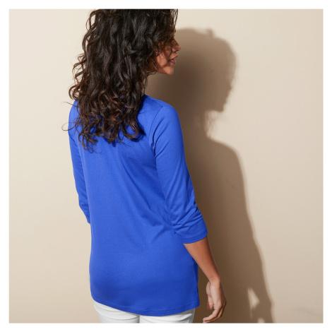 Blancheporte Jednobarevné tričko s 3/4 rukávy modrá