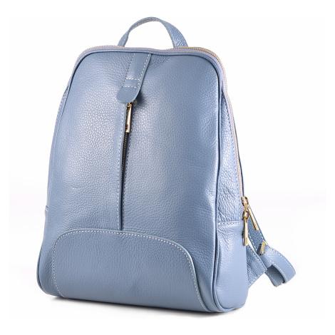 Dámský kožený pevný střední batoh šedo-modrý, 25 x 10 x 33 (IT00-CHP155002-71DOL)