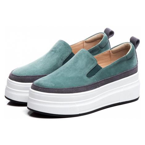 Vysoké semišové boty na platformě elegantní espadrilky
