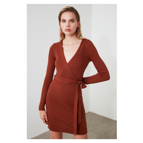 Trendyol Brown Cruise Collar Knitwear Dress