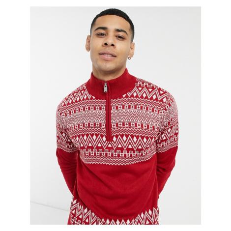 Threadbare christmas fairisle half zip jumper in red