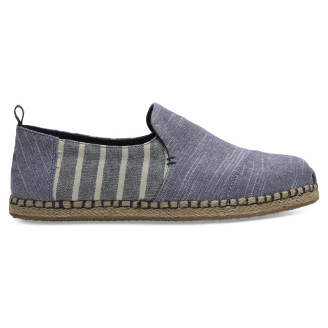 Navy Rugged Chambray Cabana Stripe Mix Men Deconstructed Alpargata Toms