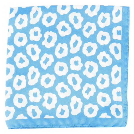 Světle modrý hedvábný kapesníček s bílými květy John & Paul
