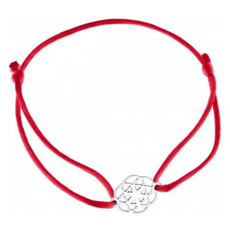 Praqia Šňůrkový červený kabala náramek Mandala KA6199