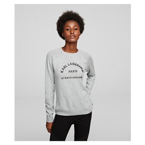 Svetr Karl Lagerfeld Address Logo Sweater - Šedá