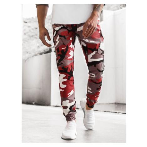 Buďchlap Bordovo-béžové maskáčové trendy jogger kalhoty A/0853