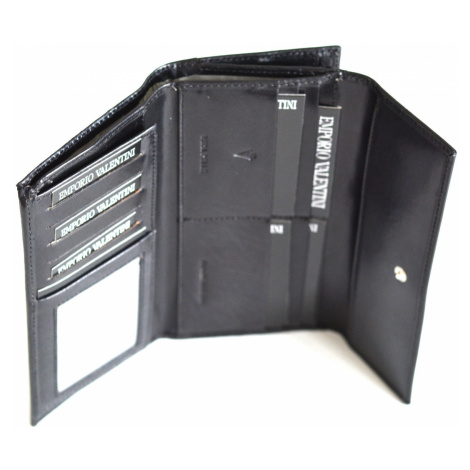 Valentini Dámská peněženka na šířku s velkým zipem kožená černá, 19 x 2 x 10 (SV00-563B802-09KUZ