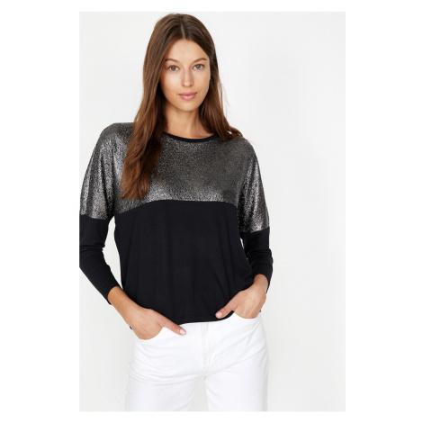 Koton Women's Black Glitter Detailed T-Shirt