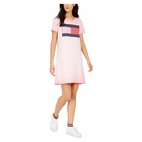 Šaty Tommy Hilfiger Cotton Flag Dress růžové