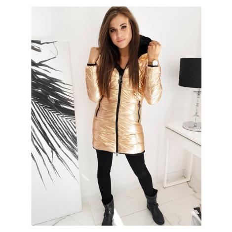 Černo-Zlatý oboustranný kabát prošívaná dlouhá bunda s kožíškem - XXL