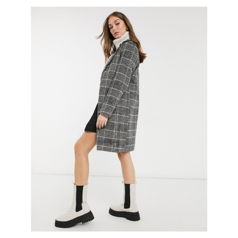 New Look tailored midi coat in black check