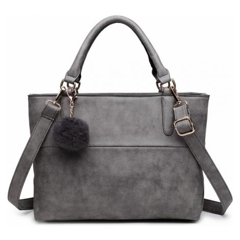 Šedá kvalitní dámská kabelka s ozdobou Lusiel