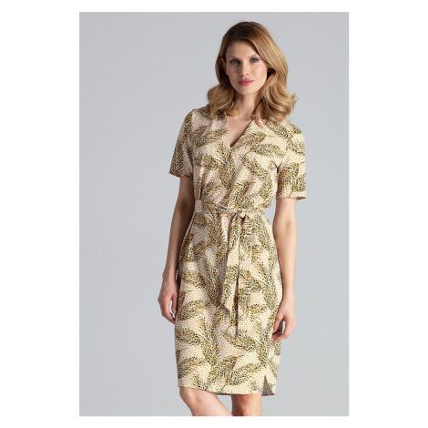 Světle hnědé vzorované šaty M669 Figl