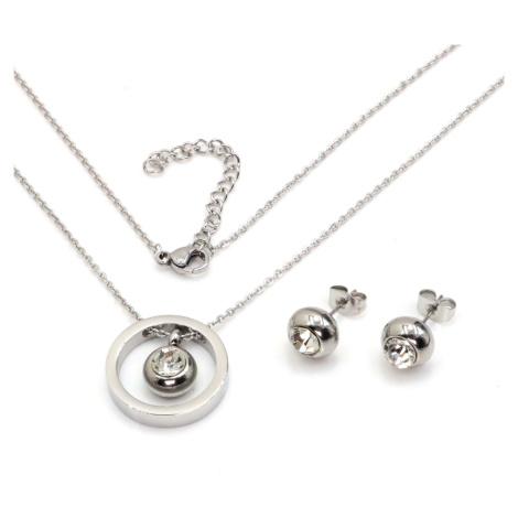 Linda's Jewelry Sada šperků se zirkony Circle chirurgická ocel IS022
