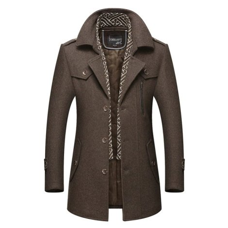 Teplý pánský kabát hnědý se vzorovanou šálou a kapsami