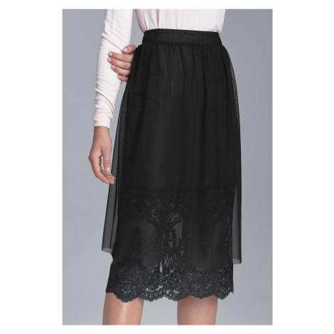 Tylová midi sukně s krajkou Nife