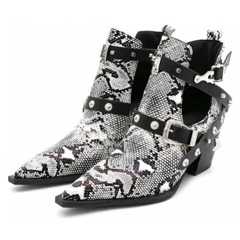 Boty se špičatou špičkou kovboj styl široké pásky s přezkami