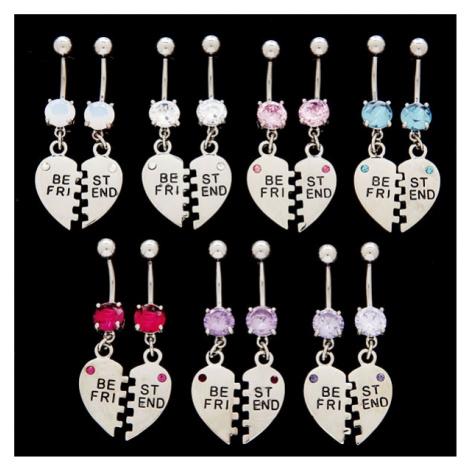Piercing do pupíku dvojitý - rozpůlená srdce - Best Friend - Barva zirkonu: Světle fialová Šperky eshop