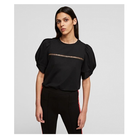 Tričko Karl Lagerfeld Puffy Sleeve Top W/Embroidery - Černá