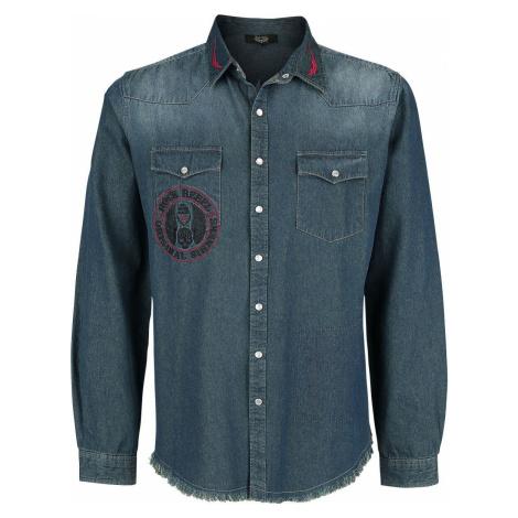 Rock Rebel by EMP Modrá denimová bunda s nášivkami a opraným efektem Košile modrošedá