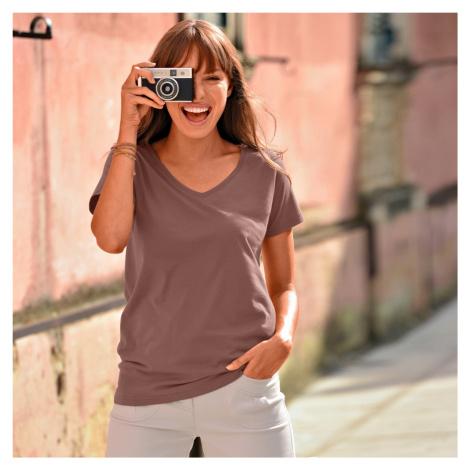 """Blancheporte Jednobarevné tričko s výstřihem do """"V"""" kaštanová"""