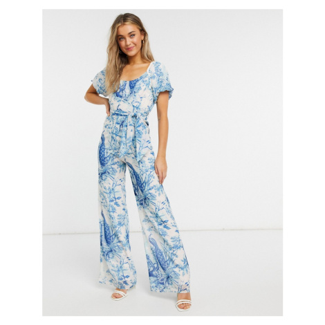 Hope & Ivy puff sleeve jumpsuit in blue and ivory print-Purple