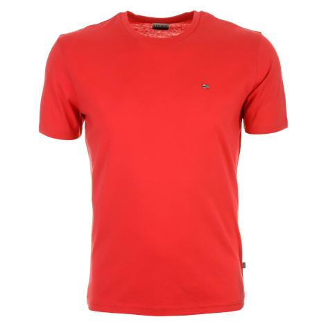 Pánské červené tričko Napapijri s malým vyšitým logem