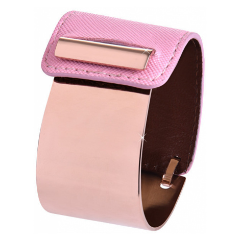 Troli Fashion náramek z oceli a kůže bronzový/růžový