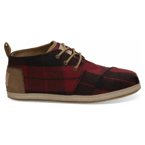 Red Plaid Felt Women's Bota Boot Toms