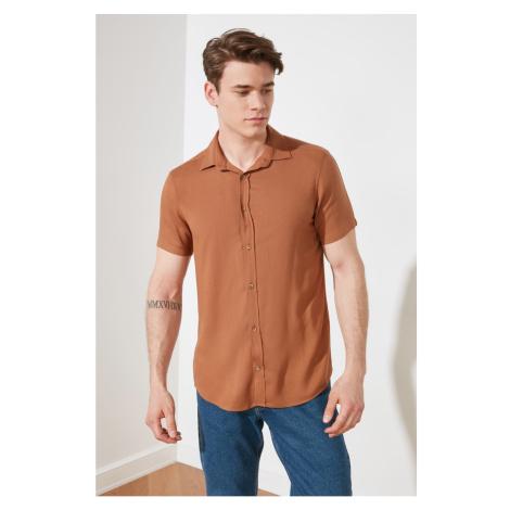 Trendyol Camel Men's Regular Fit Shirt Collar Short Sleeve Fish shirt