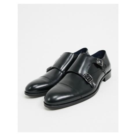 Burton Menswear leather monk shoes in black