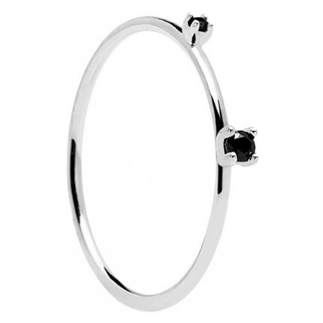 PDPAOLA Stříbrný prsten s černými zirkony BLACK KITA Silver AN02-131