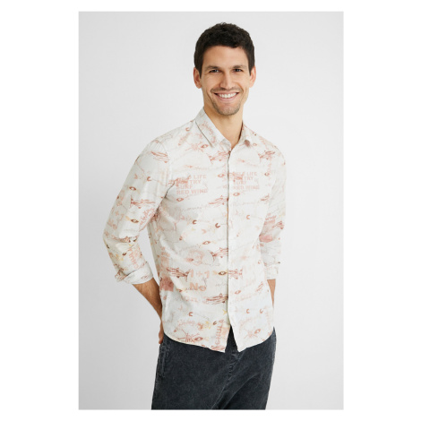 Desigual smetanové/krémové pánská košile Fish