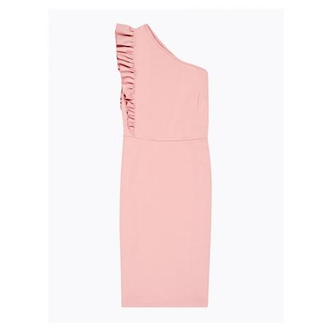 GATE Pouzdrové šaty s asymetrickými ramínky a volánem