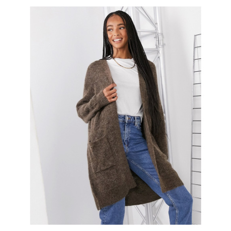 Selected Femme long cardigan in brushed knit in brown