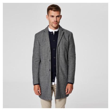 Vlněný šedý melírovaný kabát Brove Selected