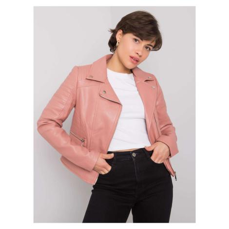 Zaprášená růžová motorkářská bunda z umělé kůže FPrice