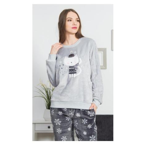 Dámské pyžamo dlouhé Kočka se šálou, 3XL, šedá Vienetta Secret