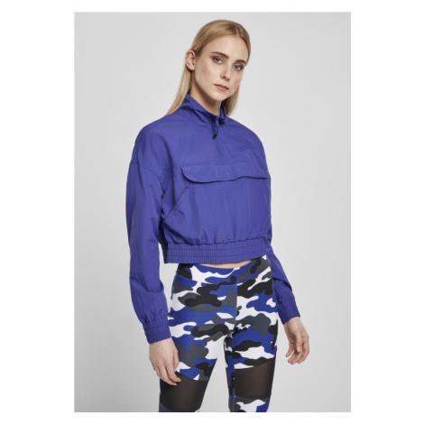 Ladies Cropped Crinkle Nylon Pull Over Jacket - bluepurple Urban Classics