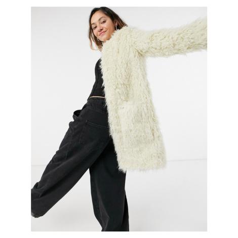 Pepe Jeans Lisa midi faux fur coat in cream