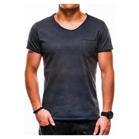 Ombre Clothing Granátové jednoduché tričko s kapsou s1049